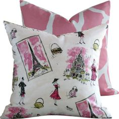 """From Paris with Love Collection - Waverly Designer 18"""" Square Boutique Throw Pillow Cover - Parisian/French Fashion with Giraffe Print - Bubble Gum Pink, Black, Lime and Ivory - 1 Pillow Cover null,http://www.amazon.com/dp/B004WYHE54/ref=cm_sw_r_pi_dp_vruZsb16RP7FV3AF"""