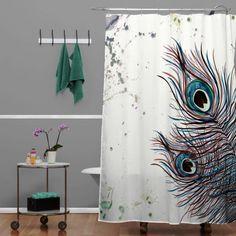 Monika Strigel Boho Peacock Feathers Shower Curtain