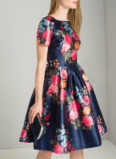 Chi Chi London Blue Floral Print Midi Skater Dress in 2019 Floral Dress Outfits, Casual Dresses, Short Dresses, Fashion Dresses, Western Dresses For Women, Frock For Women, Pretty Dresses, Beautiful Dresses, Midi Skater Dress