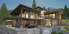 A contemporary stone and timber mountain home, with dusk lighting, in our photo-real style.