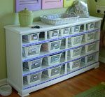 Old dresser with no drawers and some paint, sheets of thin plywood & Dollar Store baskets.   yowza!