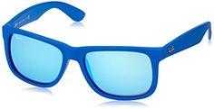 #saucy Ray-Ban 4165 608855 Blue 4165 Justin Wayfarer Sunglasses Lens Category 3 Lens M