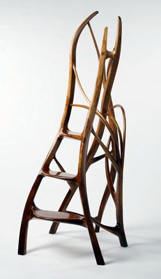 """Daniel Shawn Turley, Pottstown, USA.  Shawn creates truly unique forms in his work and has repeatedly participated in our annual Woodworking Competition (such as the pictured library ladder that won """"Members' Choice"""" in our 2009 show).  He also donated his time and energy into producing a table for WEM's major exhibition, Poplar Culture."""