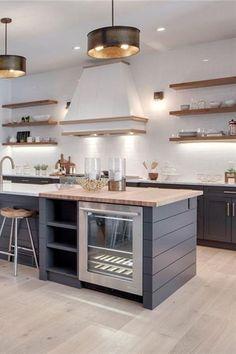 New Kitchen Open Concept Modern Ideas Home Decor Kitchen, New Kitchen, Kitchen Dining, Kitchen Grey, Awesome Kitchen, Kitchen Island Bar, Dining Rooms, Blue Shaker Kitchen, Kitchen Island With Butcher Block Top