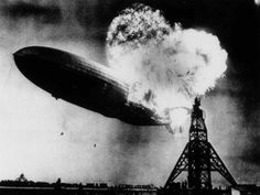 This photo, taken at almost the split second that the Hindenburg exploded, shows the 804-foot German zeppelin just before the second and third explosions send the ship crashing to the earth over the Lakehurst Naval Air Station in Lakehurst, N.J., on May 6, 1937.