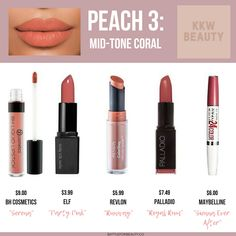 are the top 5 drugstore dupes of 2018 for the KKW Beauty Peach Creme Lipsticks!These are the top 5 drugstore dupes of 2018 for the KKW Beauty Peach Creme Lipsticks! Peach Lipstick, Lipstick Dupes, Eyeshadow Dupes, Matte Lipstick, Winter Lipstick, Brown Lipstick, Lipstick Swatches, Lipstick Shades, Lipsticks