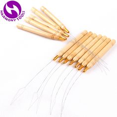 HARMONY 50 Pieces Wooden Handle Stainless Steel Wire Nano Beads Pulling Loop Threader for Micro Ring Tip Hair Extensions