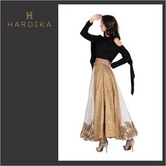 When #Classic Meets #Contemporary The style symbolizes fusion. The golden embroidered dress is a perfect cocktail night dress.  #fashionista #fashiondesigner #Hardika