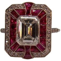 ♥ Art Deco ruby and diamond ring in platinum