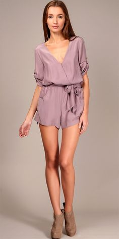 Wrap Front Silk Romper - Dark Rose. Love this even though this poor girl looks as if she may pass out