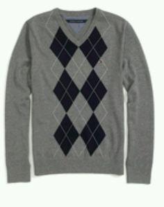 Tommy Hilfiger Men's XXL Argyle V-Neck Sweater Heathers Gray  #TommyHilfiger…