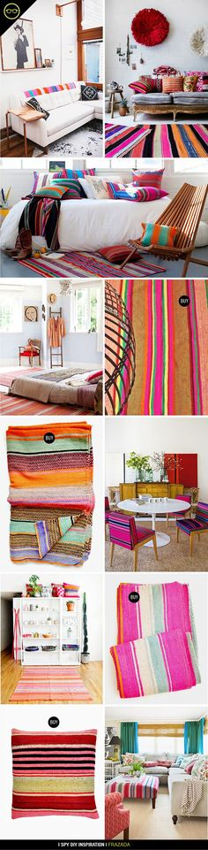 Decor inspiration with Andean Frazadas Mexican Home Decor, Mexican Bedroom Decor, Mexican Style Homes, I Spy Diy, Decor Inspiration, Decor Ideas, Diy Casa, Deco Boheme, Deco Design