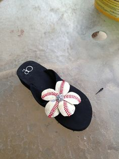 Baseball flip flops by ChampagneDesigns4you on Etsy,