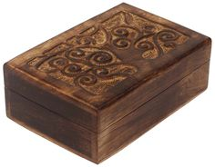 Bulk Wholesale Handmade Rectangular Rustic Wooden Jewelry / Keepsake Box with Hand-Carved Tree-Of-Life Motif – Mango Wood – Gifts for Her