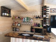 Is it too early for a glass of Gin Maybe not for these customers- They ve taken our Jenny Log Cabin and transformed it into their own Gin Bar right in their own garden Completed with some lighting and seating you may find them there all day # Home Bar Rooms, Diy Home Bar, Home Pub, Bars For Home, Small Home Bars, Garden Bar Shed, Summer House Garden, Garden Office, Terasse Bar