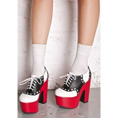 Red Black White Kawaii Oxford Platform Heels (124.600 COP) ❤ liked on Polyvore featuring shoes, black and white platform shoes, red platform shoes, black and white saddle shoes, chunky platform shoes and lace up oxford shoes