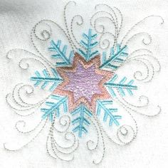 Threadsketches' set Chance of Snow - Christmas machine embroidery design, scroll snowflake