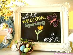 Fun chalkboard and pretty spring mantle