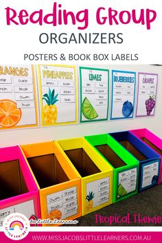 Classroom Decor 93605 Guided Reading Group posters and labels to assist teachers in organizing their students book boxes and reading group activities. Teacher Organization, Teacher Hacks, Organizing, Kindergarten Classroom Organization, Classroom Ideas, Teacher Binder, Book Boxes Classroom, Small Group Organization, Primary Classroom Displays
