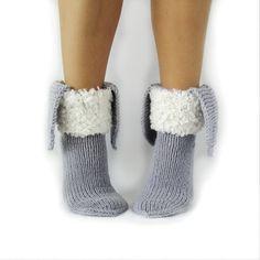 Bunny Sock. Christmas gift ideas. Grey Socks. Women's socks. Hand knit socks. Rustic wool socks. Organic socks.