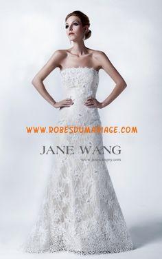 Jane Wang robe glamour 2013 sans bretelle appliques robe de mariée dentelle