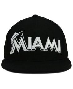 21f59d28f11 New Era Miami Marlins Black and White Fashion 59FIFTY Fitted Cap - Black 8