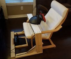 I play a fair amount of racing games, and have always preferred to use a wheel instead of a controller. In a fit of creativity a few months back, after purchasing the Thrustmaster Ferrari 458 Spider Wheel for, I decided to build a stand for the wheel. The stand was designed to be used with an Ikea Poang Chair (or clone/knockoff version), but can easily be adjusted to any chair/couch you have. It's basic, it's not pretty, but it's damn simple to make and does what it needs to do perfectly.
