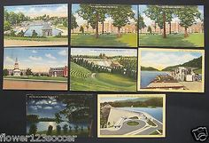 NC. High Point. Swimming Pool. School. College. Park. Lot of 8 Linen Postcards