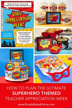Everything you need to plan the ultimate SUPERHERO Teacher and Staff Appreciation Week at your school: step-by-step instructions, decoration ideas, and printables.