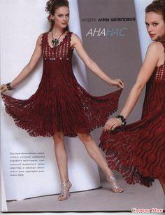 Art & Manhas Knitting and Crochet: Vestido- Reason I pineapples Moda Crochet, Crochet Lace, Crochet Skirts, Crochet Clothes, Vestidos Fashion, Fashion Dresses, The Dress, Dress Skirt, Swing Dress