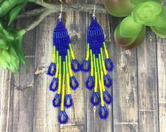 Blue Green Yellow Earrings, Fringe Chandelier Earrings, Seed Bead Bugle Dangle Earrings, Native American Aztec Tribal Boho Beaded Earrings