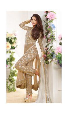 Gauhar Khan Beige Georgette Designer #Salwar Suit -
