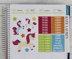 Unicorn Weekly Planner Sticker Kit for Erin Condren Unicorn Kit Unicorn Weekly Kit Planner Stickers Unicorn Planner Stickers