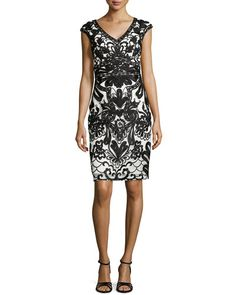 Sue Wong Cap-Sleeve Lace Embroidered Sheath Dress