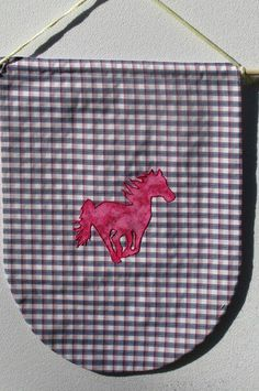 Childrens Name Banner Custom Wall Decor Pink Horse with Blue Red Plaid
