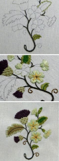 1 Stems-stem stitch, 2 Leaves outlined in split back stitch. Lower bright green leaf- satin stitch o Embroidery Designs, Embroidery Stitches Tutorial, Embroidery Transfers, Embroidery Patterns, Stitch Patterns, Silk Ribbon Embroidery, Crewel Embroidery, Japanese Embroidery, Vintage Embroidery