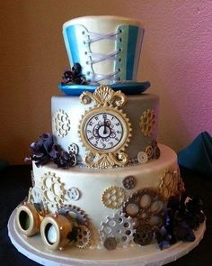 Steampunk Wedding Cake - 13 Nerdy Wedding Cakes for the Most Epic Reception Ever Crazy Cakes, Crazy Wedding Cakes, Unusual Wedding Cakes, Unique Cakes, Fancy Cakes, Creative Cakes, Pink Cakes, Creative Wedding Cakes, Gorgeous Cakes