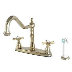 "Kingston Brass KB1752BEX 8"" Centerset Kitchen Faucet with Plastic Sprayer, Polished Brass - Price: $279.95 & FREE Shipping over $99"