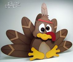 """Fan Project: Isn't this little turkey the most adorable thing you've seen in ages? As you all know I have, and love, a Pazzles """"Inspiration Creative Cutter"""" and that's what I used to make this project. Thanksgiving Wood Crafts, Thanksgiving Cards, Thanksgiving Decorations, Fall Crafts, Holiday Crafts, Turkey Decorations, Turkey Craft, Fall Halloween, Advent"""