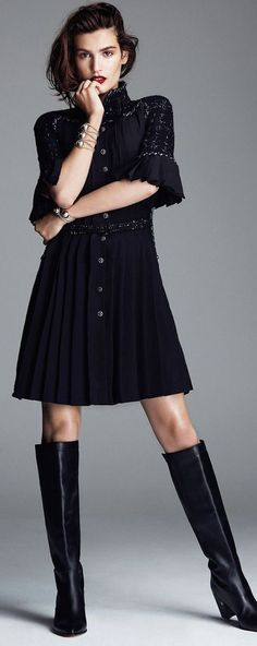 Chanel ~ Love the dress....and the boots are killer gorg........