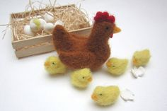 Hen & Chicks needle felted by season2season on Etsy, (great Easter gift)