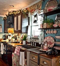 Far Above Rubies: Farmhouse Christmas Kitchen. I Just Want The Red  Transferware I See!