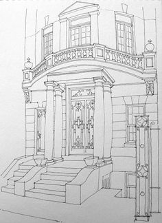 Freehand Ink Sketch on First Street in Park Slope Brooklyn. First sketch of the year. Architect Drawing, Architecture Concept Drawings, Architecture Sketchbook, Art Sketchbook, Architecture Art, Cool Art Drawings, Art Drawings Sketches, Abstract Geometric Art, Interior Sketch
