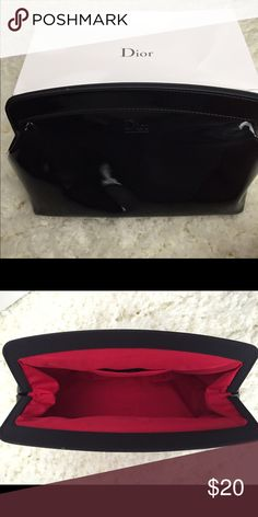 Christian Dior makeup bag Christian Dior Faux Patent Leather makeup pouch. New in box Christian Dior Accessories