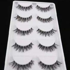 False eyelashes 5 pairs of natural eyelashes.. Includes glue. Makeup False Eyelashes