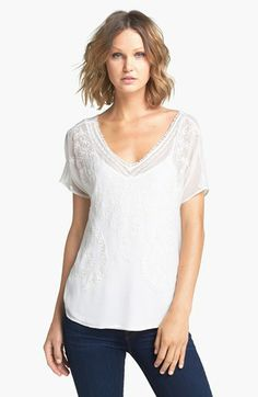 Ella Moss V-Neck Embroidered Top available at #Nordstrom