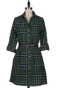 PLAID ROLL UP SLEEVE COLLARED BUTTON DOWN SHIRT DRESS WITH BELT 23D-DW7004L shopfashionomics.com