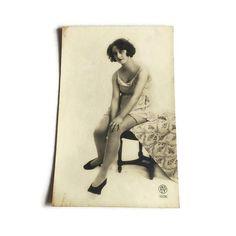 French Vintage Postcard . 1920's Risque Postcard . by Majilly - designer lingerie, aubade lingerie, mature lingerie