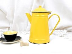 Vintage Bright Yellow Enamelware Cafetière, Coffee Pot, French Country Decor…