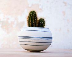 colorful porcelain planter (dark blue / black stripes). Ceramic planter for, cactus, succulent or air plant. Crafted by Wapa Studio.